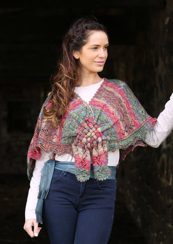 Lace Shawl with Woven Front in Wendy Fusion 4 ply (5796) - Digital Version