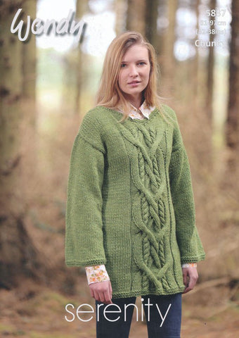 Cable Tunic in Wendy Serenity Chunky (5837)