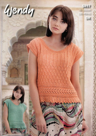 Lace Edge Top in Wendy Supreme Cotton Silk DK (5897)