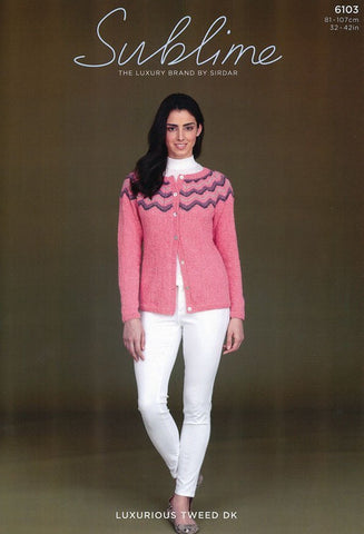 Womens Chevron Cardigan in Sublime Luxurious Tweed DK (6103)