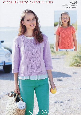 Girl's and Women's Sweater in Sirdar Country Style DK (7034)