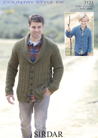 Boys/Mens Cardigans in Sirdar Country Style DK (7123)