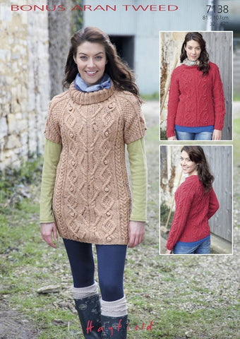 Womens Long Sleeved Round Neck Sweater and Sleeveless Cowl Neck Tunic in Hayfield Bonus Aran Tweed (7138)