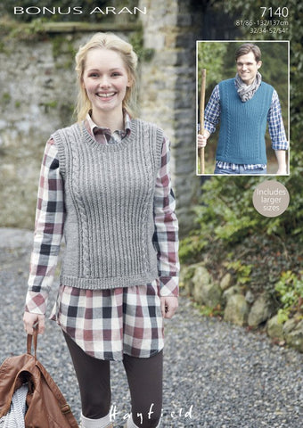 His & Hers V-Neck and Round Neck Tanks in Hayfield Bonus Aran (7140)