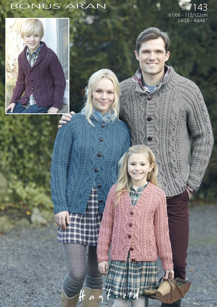 Family Raglan Cardigans in Hayfield Bonus Aran (7143)