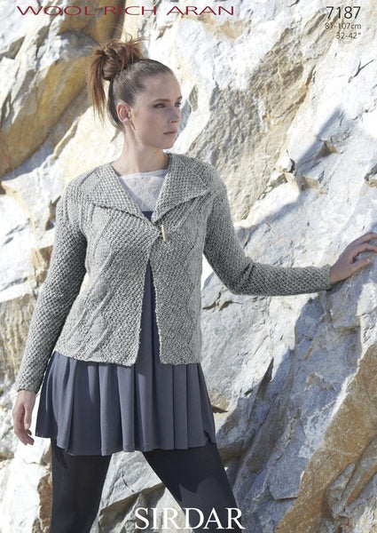 Womens Cable Jacket in Sirdar Wool Rich Aran (7187)