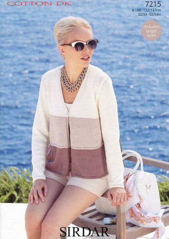 Woman's 3 Tiered V Neck Cardigan in Sirdar Cotton DK (7215)