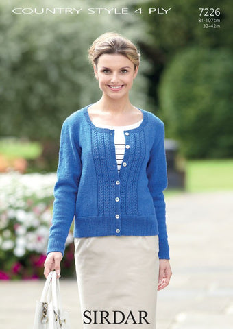 Womens Round Neck Cardigan in Sirdar Country Style 4 Ply (7226) - Digital Version