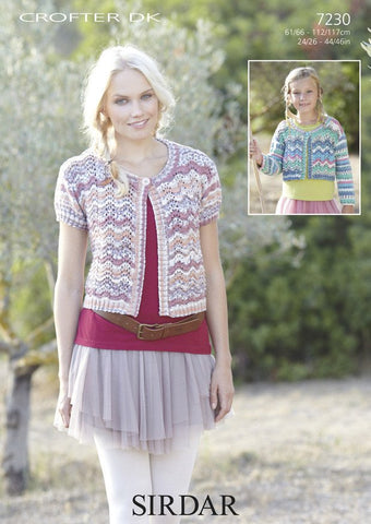 Womens and Girls Cardigans in Sirdar Crofter DK (7230)
