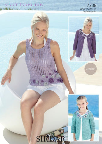Womens and Girls Jackets and Womens Vest Top in Sirdar Cotton DK (7238)