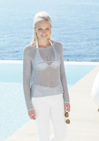 Womens Long Sleeved Crochet Top in Sirdar Cotton DK (7239) - Digital Version