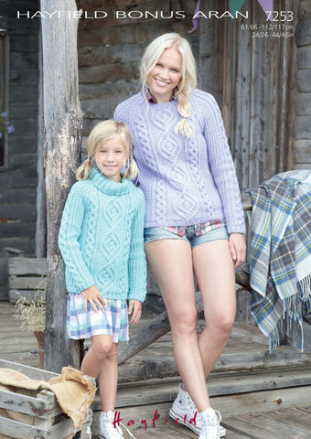 Women's Round Neck and Girl's S.U.N Sweater in Hayfield Bonus Aran (7253)