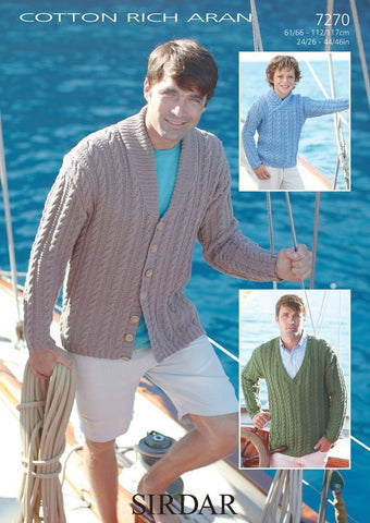 Mens and Boys Sweaters and Cardigan in Sirdar Cotton Rich Aran (7270)
