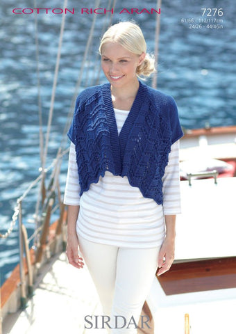 Womens and Girls Cardigans in Sirdar Cotton Rich Aran (7276)