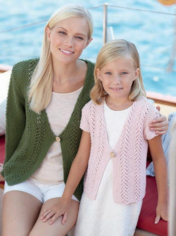 Womens and Girls Cardigans and Waistcoat in Sirdar Cotton Rich Aran (7277) - Digital Version
