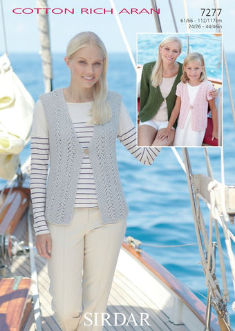 Womens and Girls Cardigans and Waistcoat in Sirdar Cotton Rich Aran (7277)