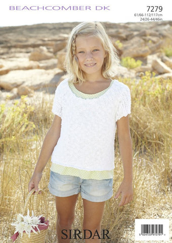 Girls/Women's Round Neck Tops in Sirdar Beachcomber DK (7279)