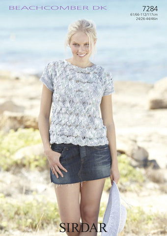 Girls Long Sleeved and Women's Short Sleeved Tops in Sirdar Beachcomber DK (7284)