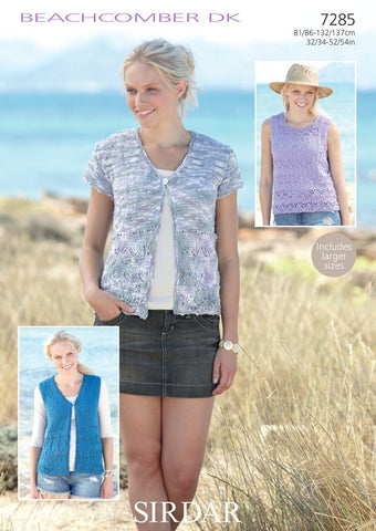 Women's Waistcoats and Round Neck Top in Sirdar Beachcomber DK (7285) - Digital Version