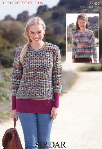 Girls Long Sleeved Sweater and Womens 3/4 Sleeved Sweater in Sirdar Crofter DK (7338)