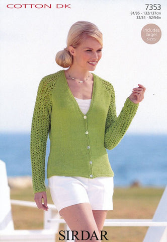 Womens V Neck Cardigan in Sirdar Cotton DK (7353)