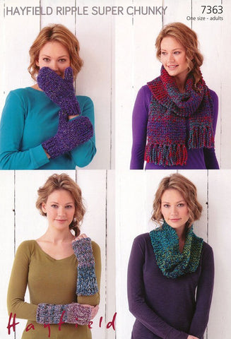 Snood, Scarf, Wrist Warmers and Mittens in Hayfield Ripple Super Chunky (7363)
