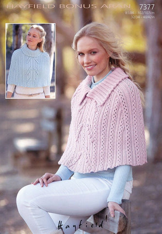 Womens Cowl Neck and Collared Caped in Hayfield Bonus Aran (7377)