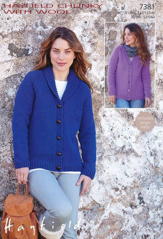 Womens V Neck and Shawl Collared Cardigan in Hayfield Chunky with Wool (7381)