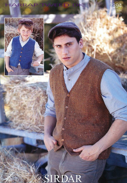 Boys and Mens V Neck Waistcoats in Sirdar Harrap Tweed DK (7394)