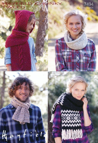 Family Scarves and Snood in Hayfield Chunky Tweed (7494)