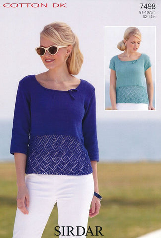 Short Sleeved and 3/4 Sleeved Tops in Sirdar Cotton DK (7498)