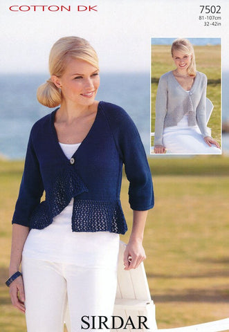 Long Sleeved and 3/4 Sleeved Cardigans in Sirdar Cotton DK (7502)