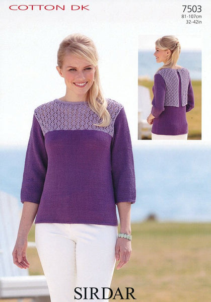 3/4 Sleeved Boat Neck Top in Sirdar Cotton DK (7503)