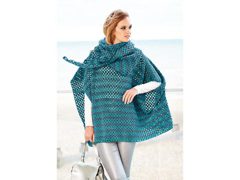 Poncho and Shawl Crochet Kit and Pattern in Rico Design Yarn (759)