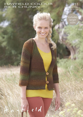 Cardigan in Hayfield Colour Rich Chunky (7711)
