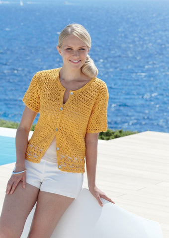 Crocheted Womens Cardigan in Sirdar Cotton DK (7740)