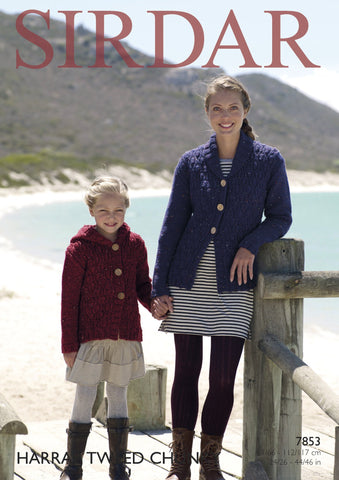 Hooded and Shawl Collared Jackets in Sirdar Harrap Tweed Chunky (7853)