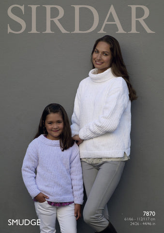 Cowl Neck and Round Neck Sweater in Sirdar Smudge (7870)