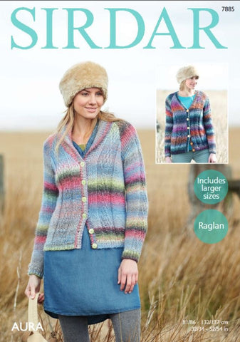 Shawl Collared and V Neck Collared Cardigans in Sirdar Aura (7885)