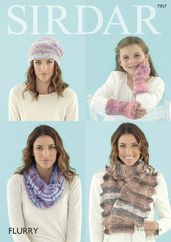 Womens Hats, Scarves, Snood & Wrist Warmers in Sirdar Flurry Chunky (7957) - Digital Version