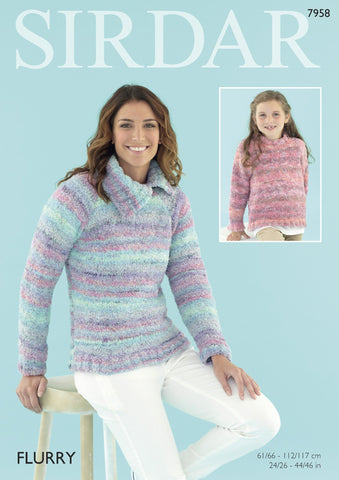Womens Sweater in Sirdar Flurry Chunky (7958) - Digital Version