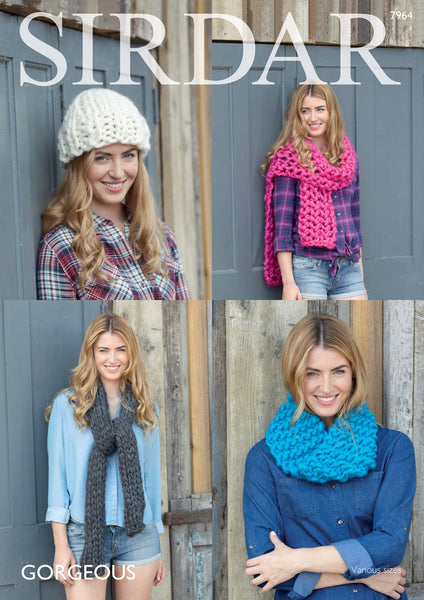 Womans Snood, Hat and Scarves in Sirdar Gorgeous (7964) Digital Version