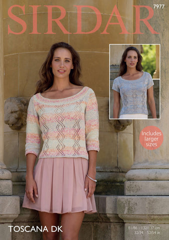 Round neck Tops in Sirdar Toscana DK (7977) - Digital Version