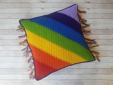 Alpine Rainbow Cushion Crochet Kit and Pattern in Deramores Yarn