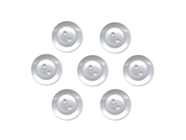 Rimmed  Round Buttons - Clear - 022