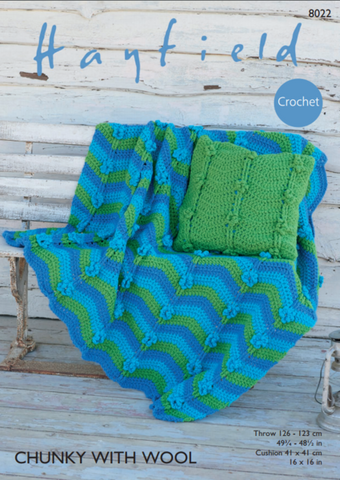 Blanket Crochet Kit and Pattern in Hayfield Yarn