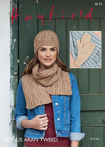 Scarf Hat and Mittens in Hayfield Bonus Aran Tweed (8171)