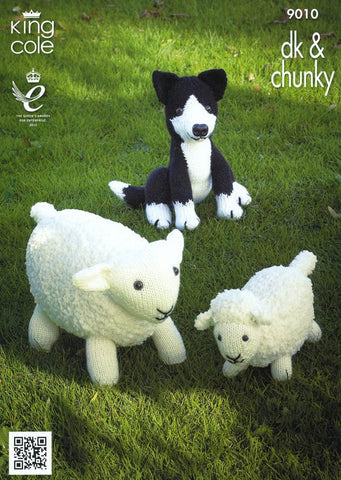 Sheep, Lamb and Sheepdog Toys in King Cole Cuddles Chunky & Pricewise DK (9010)