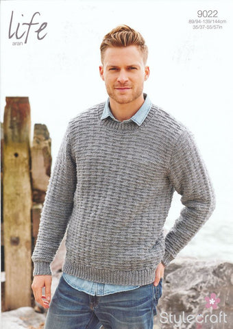 Round Neck Sweater in Life Aran (9022)