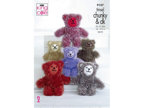 Tinsel Teddies in King Cole Tinsel Chunky and Dollymix DK (9107)